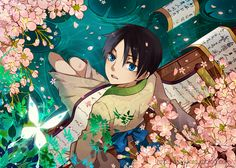 I think this is fanart of Watanuki from xxxHolic as a young boy...could be wrong, but it certainly looks like him.  The luminous butterfly also makes me think it's an allusion to xxxHolic.