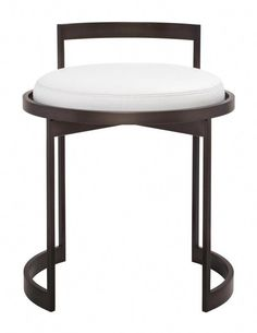 Lightweight plated or powder coat steel frame vanity stool with upholstered swivel seat and stationary metal back rest. Tightly upholstered swivel seat with top-stitched seams. Seat height is Shown upholstered in Powell & Bonnell Cattle Black Dining Room Chairs, Shabby Chic Table And Chairs, Industrial Dining Chairs, Accent Chairs For Living Room, Bar Chairs, Chinese Furniture, Unique Furniture, Furniture Design, Swivel Rocker Recliner Chair