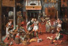 Marten van Cleve, attributed to, his studio? - (Flemish) Kitchen interior Date circa 1565 Johannes Vermeer, Medieval Life, Medieval Castle, Google Art Project, Studio Kitchen, Kitchen Art, 16th Century, Middle Ages, Art Google