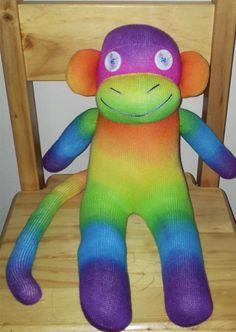 Charlie the rainbow sock monkey