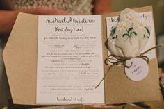 Wedding ceremony booklet with tears of joy/happy tears hankies  #ceremonyprogram  #orderofservice