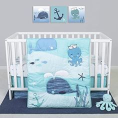 Amazon.com : Sammy & Lou 4 Piece Crib Bedding Set, Nautical Adventure : Baby