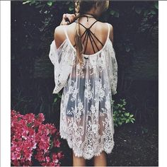 ⭐️JUST IN⭐️⚓️lace cold shoulder dress It's time to hit the beach, and let's do it in style! April spirit open shoulder lace dress. Wear as a dress or a beach coverup! Second photo is the exact item you will get. 100% cotton. trades, price is firm! April Spirit Swim Coverups