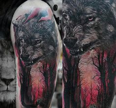 Wolf In Glowing Red Forest Mens Half Sleeve Tattoos
