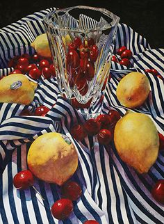 Lemons, Cherries, and Stripes by Chris Krupinski Watercolor ~ 30 x 22 Painting Still Life, Still Life Art, Painting Inspiration, Art Inspo, Foto Art, High Art, Realism Art, Oeuvre D'art, Traditional Art