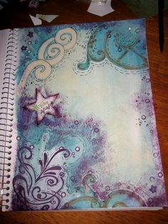 example art journaling page: before text added.  - My first art journal attempts are not nearly so amazing...