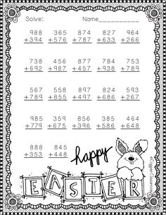 Easter Themed 3 Digit Addition With Regrouping by Copper Classroom Math Activities, Teaching Resources, Second Grade Math, School Worksheets, Math Numbers, Free Math, Addition And Subtraction, Elementary Math, Math Classroom