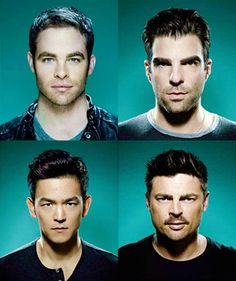 Chris Pine, Zachary Quinto, John Cho & Karl Urban. Can I just say that I love that these men are all really good looking in their own unique way? I love that about people.