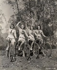 ridesabike:  Carole Parker, Joyce Mathews, Lola Jensen and Alma Ross ride bikes, and wave goodbye to 1938