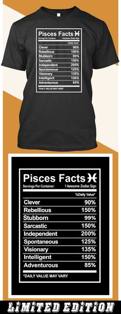 Pisces Facts - Limited edition. Order 2 or more for friends/family & save on shipping! Makes a great gift! Pisces Facts, Zodiac Facts, Zodiac Signs, Pieces Quotes, Aquarius Pisces Cusp, Pieces Zodiac, Zodiac Personalities, Moon Signs, Clever Quotes