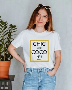 Designer Inspired Chic Like CoCo Chanel Unisex Tshirt Toddler Gifts, Gifts For Kids, Bell Design, Etsy Handmade, Handmade Gifts, Etsy Jewelry, Coco Chanel, Etsy Seller, Graphic Tees