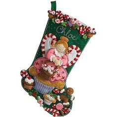 Bucilla Felt Applique Stocking, Cupcake Angel