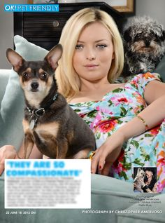 Out today in my OK! Pets feature in OK! magazine. Francesca Eastwood daughter of Clint and Frances Fisher with her two rescue dogs Batman & August. Pick up a copy today. On Stands now!