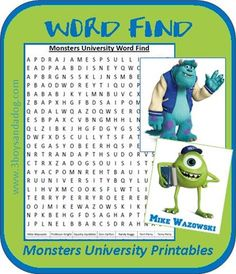 Monsters University Printable Word Find