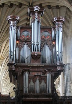 Pipe Organ Exeter Cathedral by John Loosemore, 1665 Exeter Cathedral, Cathedral Church, Sacred Architecture, Church Architecture, Sound Installation, French Horn, Fantasy Map, Pipe Dream, Old Churches