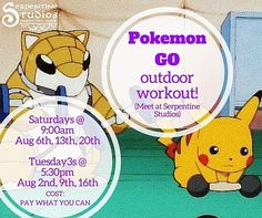 Is this real life !? from @serpentinestudios   Work your Jigglypuff into TUFF with this fun street workout for Pokemon Go players!  Catch Pokemon between sets of body weight exercises at popular downtown Pokestops.  Class runs rain or shine so dress for the weather and make sure your phone is in a waterproof case or ziplock bag if it rains.  At the end of the workout the team that takes the Pokemon Gym picks the workout finisher for the losing teams!  1 Hour class (approx.)- meet at…
