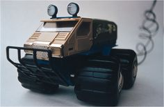"Gândac (Bug) TT-D - off-road - amphibious truck - wire remote controlled toy. It floats on its oversized wheels. Created by romanian designer Catalin Urcan for ""Viitorul"" Enterprise (now, Plastor) - city Oradea, Romania in 1985-1988"