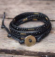 similar to Black mix wrap bracelet, Boho bracelet, Beadwork bracelet Bracelet Wrap, Beaded Wrap Bracelets, Bracelets For Men, Jewelry Bracelets, Crystal Jewelry, Beaded Jewelry, Hippie Jewelry, Schmuck Design, Bracelet Patterns