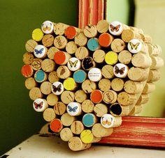 anti-social butterfly - recycled wine cork heart corkboard