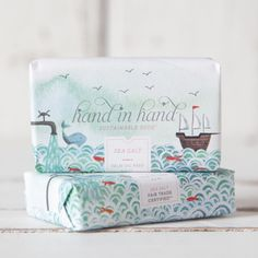 Hand in Hand Clean Water Collection Bar Soaps Cool Packaging, Cosmetic Packaging, Packaging Design, Skincare Packaging, Packaging Ideas, Soap Labels, Water Collection, Branding, Design Graphique