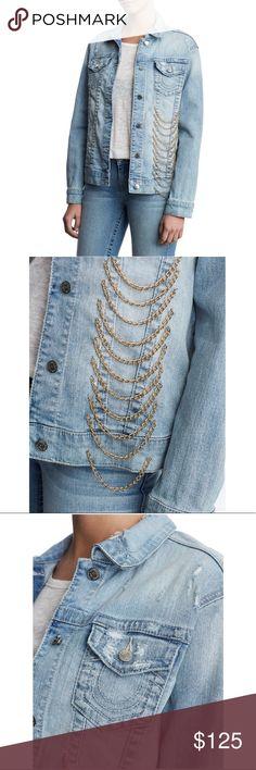 885c7e9a794f3 NWT True Religion BF Jckt W Gold Chains NWT True Religion Boyfriend Jacket  With Gold Chains