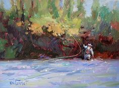 River Rodeo, oil painting,fly fishing, Mary Maxam, Montana river