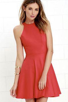 Delightful Surprise Red Skater Dress at Lulus.com!