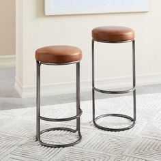 Shop bar stool from west elm. Find a wide selection of furniture and decor options that will suit your tastes, including a variety of bar stool. Table Reglable, Design Commercial, Leather Counter Stools, Cuir Vintage, Chaise Bar, Small Furniture, Modern Furniture, Futuristic Furniture, Plywood Furniture