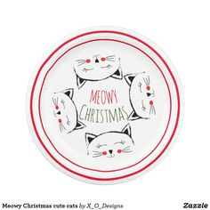 Shop Meowy Christmas cute cats Paper Plate created by X_O_Designs. O Design, Custom Design, Holiday Cards, Christmas Cards, Christmas Paper Plates, Party Tableware, White Elephant Gifts, Paper Napkins, Biodegradable Products