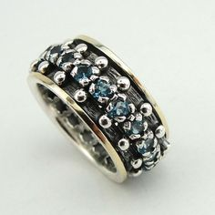 Fine, Great 9k Gold and Sterling Silver blue topaz Swivel Band Ring , any size (sn 1057)