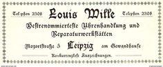 Original-Werbung/ Anzeige 1904 - UHREN LOUIS WILLE - LEIPZIG - ca. 100 x 40 mm