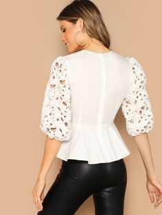 Button Back Laser Cut Bow Knotted Peplum White Blouse Spring Women Half Sleeve Ruffle Hem Solid Elegant Ladies Tops Simple Dress Pattern, Pencil Skirt Outfits, Ankara Skirt, Peplum Blouse, Blouse Styles, Lace Sleeves, Elegant Woman, Simple Dresses, Blouses For Women