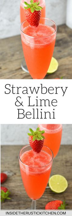 These delicious strawberry belliniare a refreshing Prosecco cocktail made with fresh strawberries and zesty lime juice www.insidetherustickitchen.com