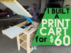 I found a perfect (and cheap) way to make an awesome printing cart for a table top screen printing press. http://www.startscreenprintingnow.com/diyprintingcart/