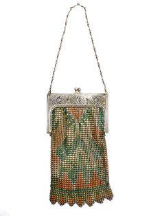 Vintage Purse Art Deco Whiting & Davis Enameled Mesh Purse 1920S Orang – The Best Vintage Clothing