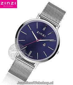 Zinzi Retro horloge ZIW403M Zinzi Watches Silver Dames. Retro dames horloge Edelstaal Zilverkleurig met Blauwe wijzerplaat #watches #horloges #juwelierswebshop