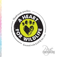 A Heart For Wildlife - logo design Page Design, Identity, Wildlife, Graphic Design, Logos, Heart, Handmade, Hand Made, Logo