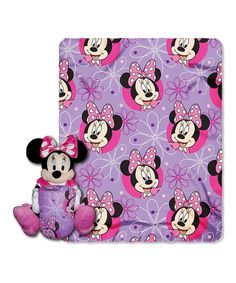 Minnie Mouse, Minnie Bowtique Printed Fleece Throw with Hugger, x Disney's Mickey, Minnie Bowtique Hugger and Throw Set by The Northwest Company. Made of polyester. Made in China. Cama Mickey Mouse, Mickey Mouse Bett, Minnie Mouse, Throw Pillow Sets, Throw Pillows, Thing 1, Childrens Gifts, Fleece Throw, Disney Mickey
