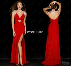 Charming V-neck Sheath Floor-length Women's Dresses Sexy Red Prom Dresses With Slit Long Backless Dress Beaded Chiffon Evening Gowns