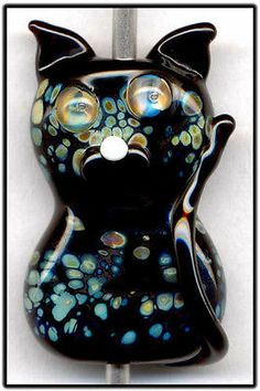 Black Raku Kitty Cat Focal Handmade Glass Lampwork Bead Handmade SRA W79 :) ♥♥♥