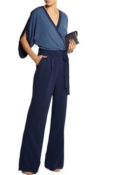 Diane von FurstenbergLinnie two-tone jersey-crepe wrap jumpsuit