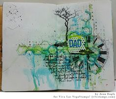 Mixed Media Father's Day themed art journal spread by Jenn Engle using rubber stamps from vlvstamps.com