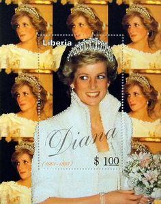 "Liberia Stamp - Princess Diana ""White Dress"" Commemorative.  Diana - Princess of Wales 1961 - 1997."