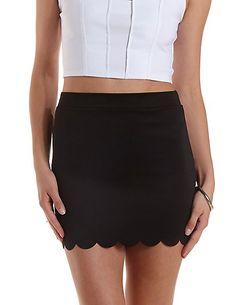 Scalloped Bodycon Mini Skirt: Charlotte Russe