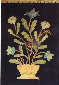 Primitive Applique Patterns Free | Primitive Folk Art Wool Applique Pattern FLOWERS IN BLOOM