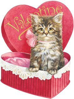 Vintage Victorian Valentine with Kitten in Heart Shaped Candy Box - this is so adorable! Cat Valentine, Valentine Images, Valentines Greetings, My Funny Valentine, Vintage Valentine Cards, Valentines Day Hearts, Vintage Greeting Cards, Love Valentines, Vintage Holiday