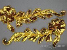 Pailletten applicatie 210x90mm goud per paar