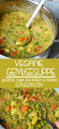 VEGANE GEMÜSESUPPE This hearty vegan vegetable soup contains green peas, potatoes, carrots, and other healthy vegetables. The recipe for this vegetable stew is plant-based, gluten-free and easy Veggie Stew Recipes, Vegan Vegetable Soup, Vegetarian Stew, Vegan Stew, Vegan Soups, Easy Soup Recipes, Whole Food Recipes, Cooking Recipes, Vegan Recipes One Pot