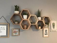 Handmade Hexagon/ Honeycomb shaped shelving built out of 100% Cedar wood. Shelves can work as BOTH wall decoration and as functioning shelves! Each shelf is 12 wide from corner to corner, 10.5 from top to bottom, and is 5.5 deep. THIS SET IS THE DEEPEST SHELF WE OFFER. Shelves are hung