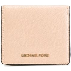Michael Michael Kors 'Jet Set Travel' square wallet ($80) ❤ liked on Polyvore featuring bags, wallets, beige, pink leather wallet, nude leather bag, leather wallets, pink leather bag and leather mini bag